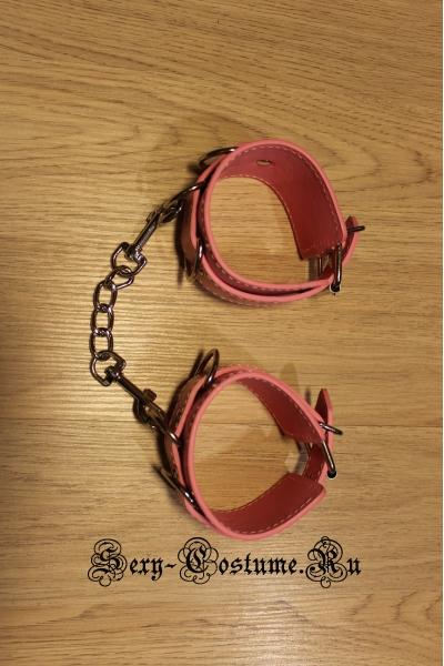 Светло-розовые гладкие наручники из кожзама nightks lu1013-1