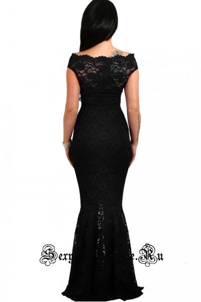 Черное платье с полупрозрачными элементами открытые плечи d61481