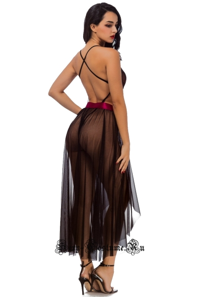 Эротический полупрозрачный комплект боди с юбкой nightks lu6950