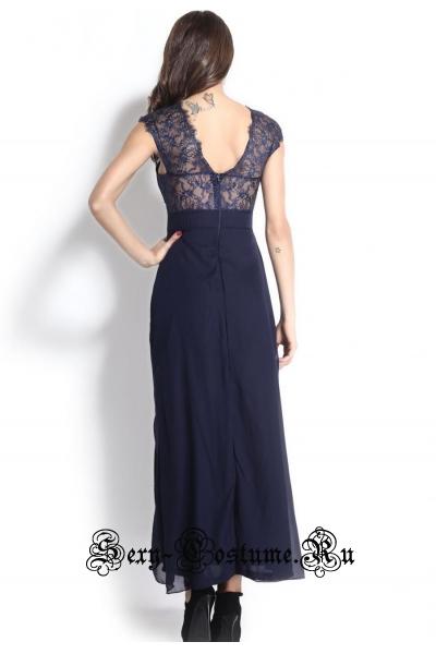 Платье длинное клубное темно-синее d6612