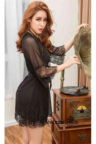 Черный комплект из халатика + сорочки + пояса + трусиков nightks lu6231