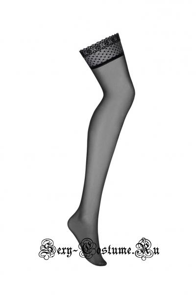 Чулки черные гладкие под пояс obsessive 817 stockings