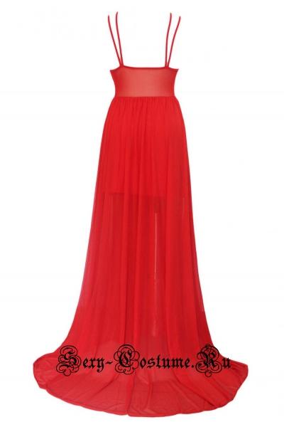 Платье длинное клубное красное полупрозрачные вставки d60041
