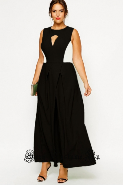 Ченое платье длинное клубное черное с белым d6765