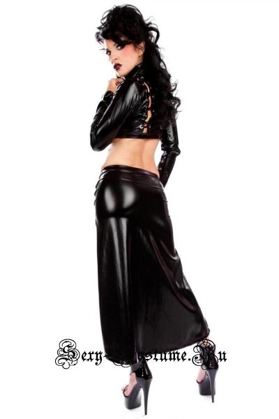 Черное платье виниловое черное из трех предметов секси ниндзя w5075