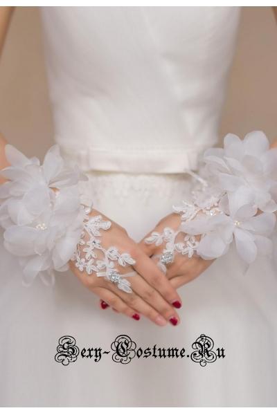Перчатки белые ладонь d73122-1