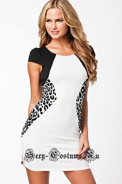 Белое платье с черно-белыми вставками d21101