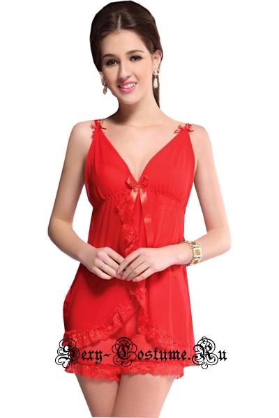 Сорочка короткая + шортики красная lu601