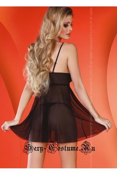 Сорочка черная полупрозрачная классика livia corsetti lizzie