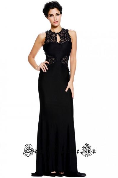 Черное платье клубное длинное d60639-2