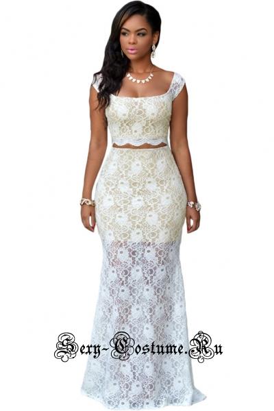 Белое платье клубное топ + юбочка d60550