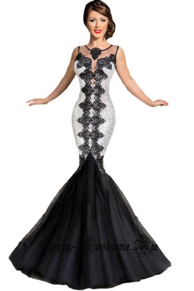 Платье черное с серебристыми паетками d60866-1