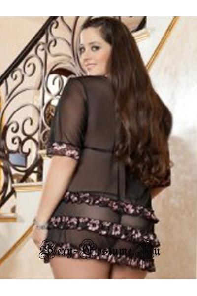 Черная сорочка с розовым w6605