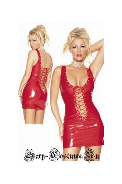 Лаковое красное платье со шнуровкой клубное китай 2-4219