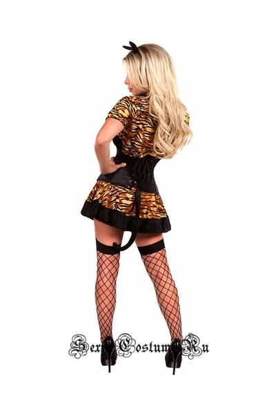 Кошечка корсетный костюм корсет черный m11105