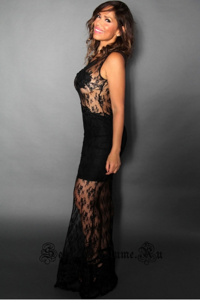 Сексуальное длинное клубное черное платье с полупрозрачными элементами n60877