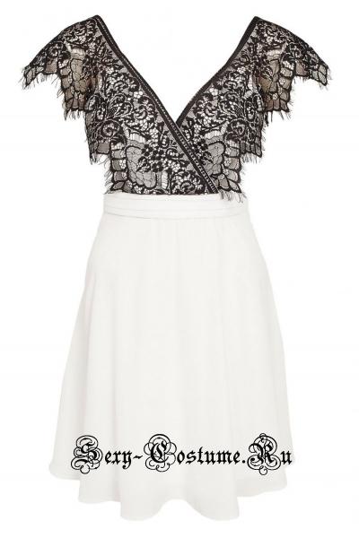 Белое платье с черным верхом клубное n22087