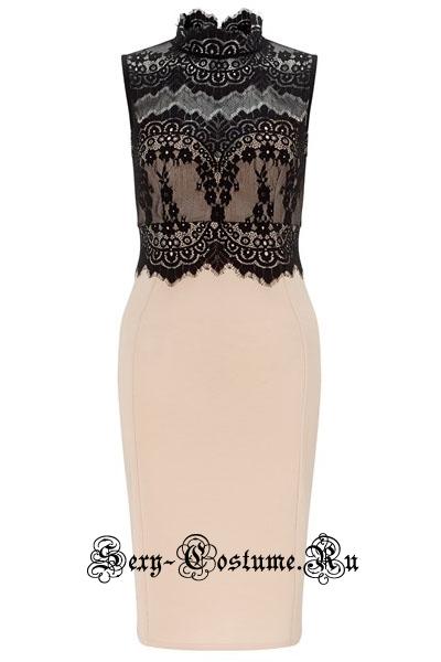 Телесное платье клубное с черным n60488