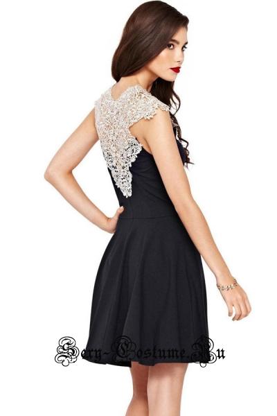 Черное платье клубное с белым верхом m22149
