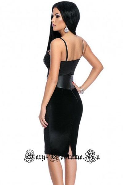 Черное платье с кожзам вставками уценка по белой ленте n6103-2