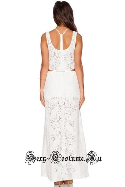 Белое платье комбинированное топ + юбка n6262