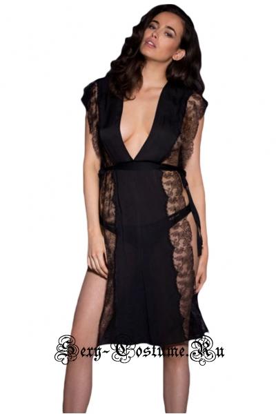 Сорочка на завязках черная открытые бока 3105-2