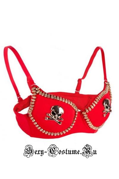 Красный бюстгалтер клубный черепа m11013