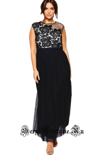 Черное платье с белым полупрозрачные вставки n61096