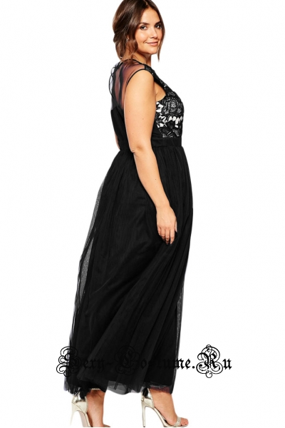 Платье черное с белым полупрозрачные вставки n61096