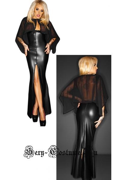 Черное платье виниловое длинное с полупрозрачной накидкой ведьма w8607-17