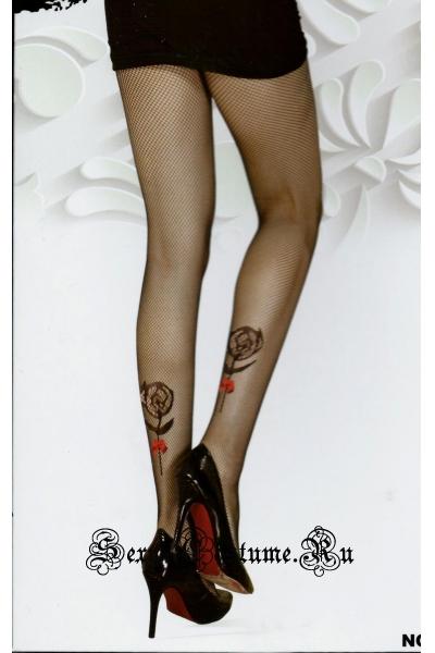 Черные колготки в сетку с розочкой lu9824