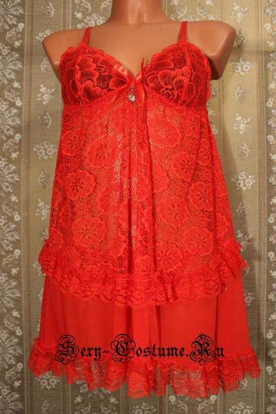 Сорочка красная гипюровая nightks lu1128r