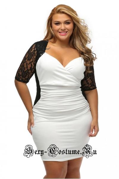 Белое платье с черным клубное n61318
