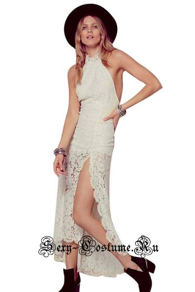 Платье клубное белое с узором n60208