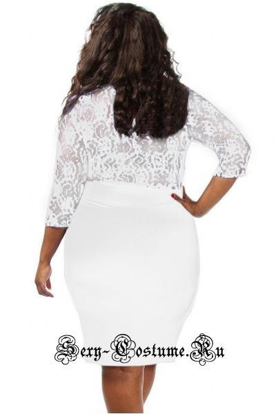 Белое платье клубное с интересным верхом n61305