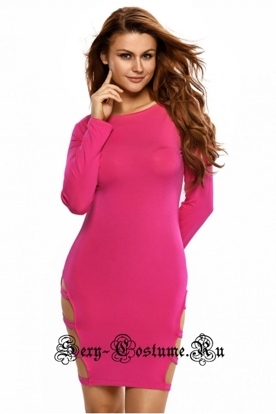 Розовое платье с открытой спиной и сбоку d21144-3