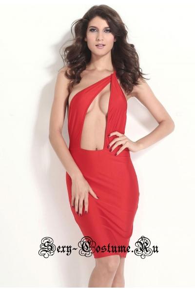 Красное платье клубное d21074-3