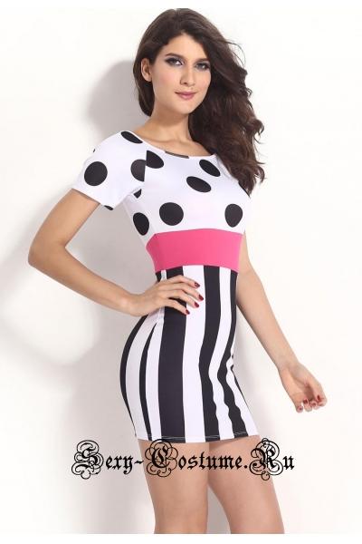 Белое платье с черными кругами клубноеминни маус d21236
