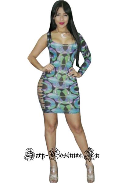 Синее платье клубное с рисунком n21332