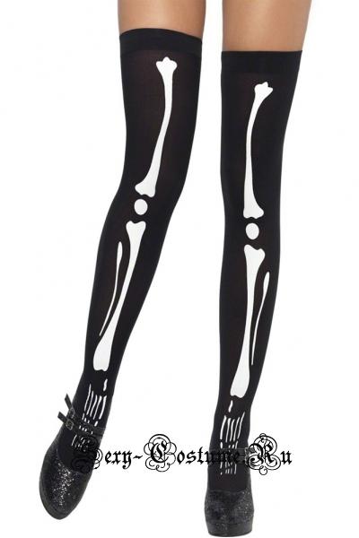 Гольфы черные гладкие имитация костей скелета d79905