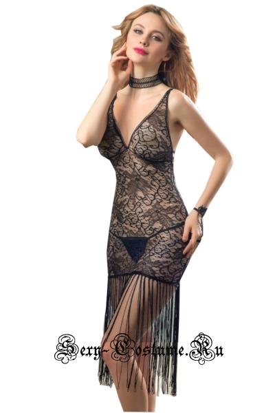 Сорочка черная сексуальная полупрозрачная роковая девушка nightks lu6158
