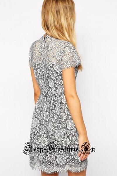 Белое клубное платье с черной подкладкой d22145