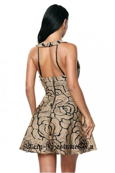 Черное платье клубное с золотистым рисунком d22939