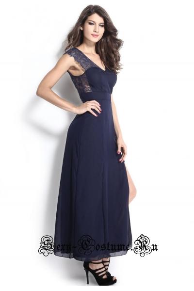 Темно-синее платье длинное клубное d6612