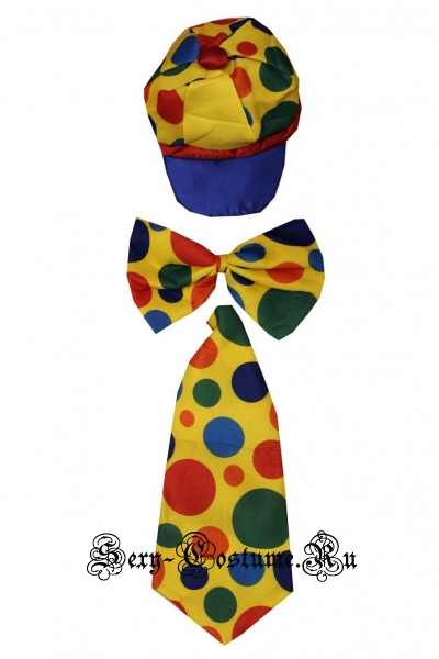 Набор клоуна кепка + галстук + бант синтетика s37075