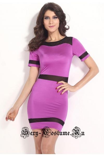 Платье фиолетовое с черным клубное d21237