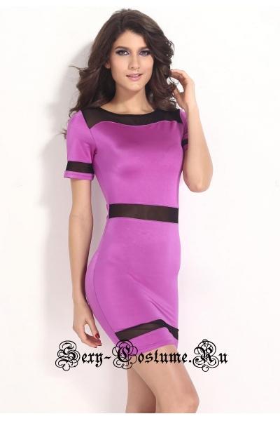 Платье клубное фиолетовое с черным d21237