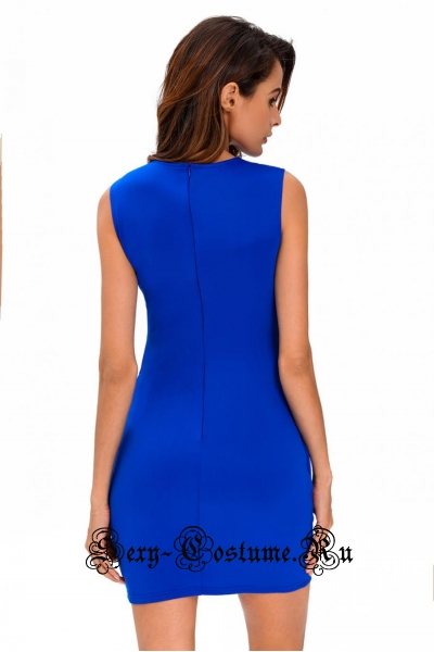 Голубое платье клубное синее с открытыми участками d22742-5