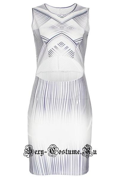 Белое платье с черными полосами открытый животик зебра d22045