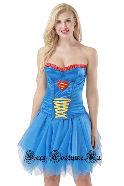 Супер девушка супергерл наши дни корсет синий m15018